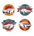 Retro car service badges vector image vector image