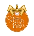 Round label with gold bow vector image