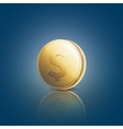 Gold coin with dollar sign on blue background vector image
