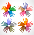 set of colorful hand print icons vector image vector image