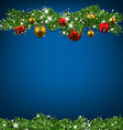Christmas blue background with fir branches vector image