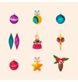 Christmas Tree Decorations Icon Set vector image