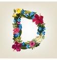 D letter Flower capital alphabet Colorful font vector image