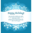 Happy holidays blue background with snowflakes vector image