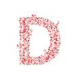 Romantic floral letter D vector image