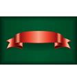 Red ribbon satin bow banner green vector image
