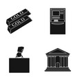 gold bars atm bank building a case with money vector image