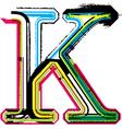 Grunge colorful font Letter K vector image vector image