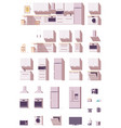 kitchen equipment and furniture set vector image