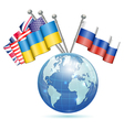 Flags of Ukraine USA UK and Russia vector image