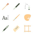 art tools icons set cartoon style vector image