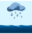 cloud with falling rain sea vector image