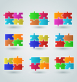 Collection abstract colorful puzzle pieces vector image