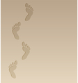 foot steps on the sand vector image