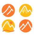 Mountain icons set isolated on white - orange vector image