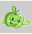 sticker with cartoon green apple character which vector image