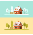 Winter and Summer house vector image