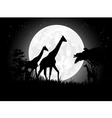 Giraffe silhouette with giant moon background vector image vector image