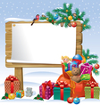 Christmas wooden sign board vector image vector image