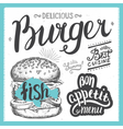 Burger food element for restaurant and cafe vector image vector image