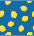seamless pattern lemon on blue background vector image