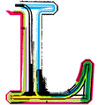 Grunge colorful font Letter L vector image