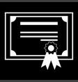 certificate the white color icon vector image