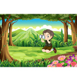A boy at the forest with a telescope vector image vector image
