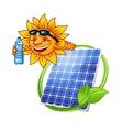 Cartoon solar panel with sun vector image