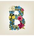 B letter Flower capital alphabet Colorful font vector image