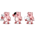 Pink Pig Mascot with phone vector image