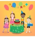 Children Party with Happy Boys and Girls vector image