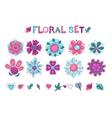 Cute floral elements set vector image