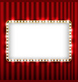 Theater scene with red curtain and sign gold frame vector image