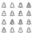 line christmas tree icon set vector image vector image