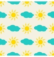 Sun and clouds in the sky seamless background vector image