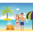 Young couple relaxing on a tropical beach vector image