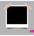 retro polaroid photo frame template on sticky tap vector image