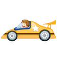 a boy driving a car vector image