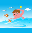 swimmer with fishes vector image
