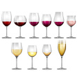 Wine glasses filled with red and white wine vector image