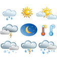 set of friendly weather icons vector image vector image
