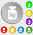 Weight icon sign Symbol on eight flat buttons vector image