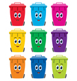 set of colorful flat recycling wheelie bin icons vector image