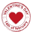 February 14 Valentines Day Red stamp imprint vector image
