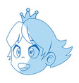 comic face princess with crown vector image
