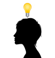 Woman silhouette with idea light bulb vector image