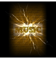music on a brick background crack vector image