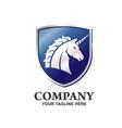 unicorn logo with shield vector image