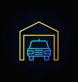 car in garage outline icon vector image